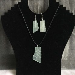 Squared Wire Wrapped Sea Glass Necklace and Earrings Set