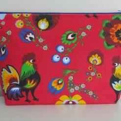 Handmade large zip case/toiletry bag - red folk flowers