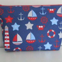Handmade large zip case/toiletry bag - blue nautical