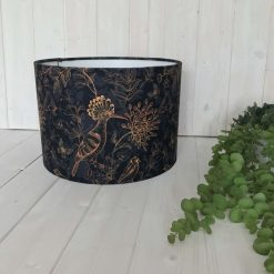Hand Made Lampshade Velvet with Gold Bird Print & Foliage