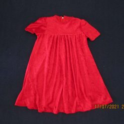 Girls red velveteen short sleeved dress with round neck and zip fastening. Age 2