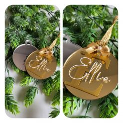 Hand made Christmas acrylic bauble personalised