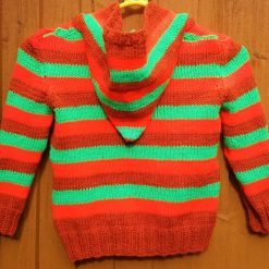 """Child's hooded knitted jackets in bright Halloween colours: 26"""" and 28"""" chest"""