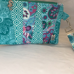 Handcrafted patchwork clutch pouch with wristlet