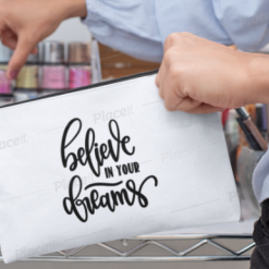 Canvas Cotton Cosmetics and Accessory Bag, Believe in Your Dreams, Make Up Bag, Personalise, Funny Quotes and Saying, Motivational, Inspirational, Be Happy, Choose Happy, Live Happy, Reusable, Message Bag, Gift, Gift Ideas, Cheer Up Gift