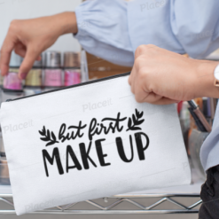 Canvas Cotton Cosmetics and Accessory Bag, But First Make Up, Make Up Bag, Personalise, Funny Quotes and Saying, Motivational, Inspirational, Be Happy, Choose Happy, Live Happy, Reusable, Message Bag, Gift, Gift Ideas, Cheer Up Gift