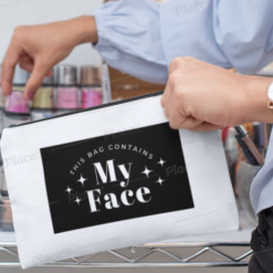Canvas Cotton Cosmetics and Accessory Bag, Bag Contains My Face, Make Up Bag, Personalise, Funny Quotes and Saying, Motivational, Inspirational, Be Happy, Choose Happy, Live Happy, Reusable, Message Bag, Gift, Gift Ideas, Cheer Up Gift