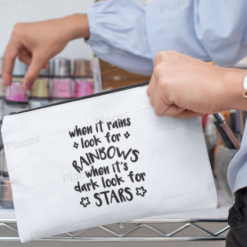 Canvas Cotton Cosmetics and Accessory Bag, Rainbows and Stars, Make Up Bag, Personalise, Funny Quotes and Saying, Motivational, Inspirational, Be Happy, Choose Happy, Live Happy, Reusable, Message Bag, Gift, Gift Ideas, Cheer Up Gift
