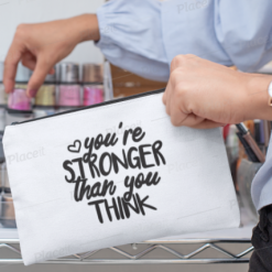 Canvas Cotton Cosmetics and Accessory Bag, Stronger Than You Think, Make Up Bag, Personalise, Funny Quotes and Saying, Motivational, Inspirational, Be Happy, Choose Happy, Live Happy, Reusable, Message Bag, Gift, Gift Ideas, Cheer Up Gift