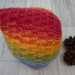 Hand Knitted Baby Bonnet with Button Fastening
