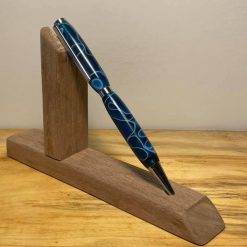 hand turned blue resin twist pen