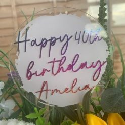 Custom Made Personalised Acrylic Cake Topper for Birthdays and Celebrations