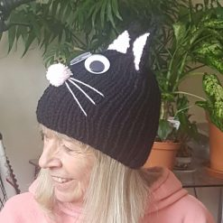 Hand Knitted Black Cat Hat - Sizes Child, Teenager, Adult