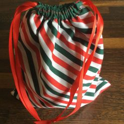 Reusable Small Christmas or Party Gift bag made with Striped Fabric