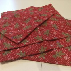 """Christmas Table Napkins  featuring Gingerbread Men 9.5"""" x 10"""" approx"""