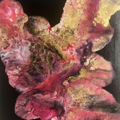 SOLD: Coral at Night - Abstract fluid acrylic painting