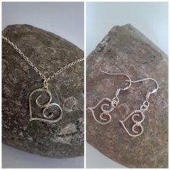 Sterling Silver Heart Jewellery Set