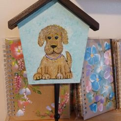 Doggie Designs  Hand painted wooden dog lead hook Fluffy Pup