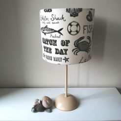 CATCH OF THE DAY - Limited Edition handmade double sided drum lampshade: 20cm or 30cm diameter