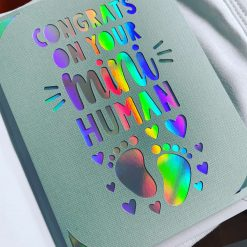 Handmade blank card, new baby, baby, mini human, congrats, congratulations, just to say, happy