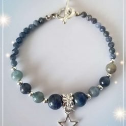 Natural Sapphire and Lapis Lazuli Bracelet with Star Charm ( Birthstone of September )