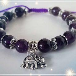Natural Amethyst with Elephant Charm Braided Adjustable Bracelet