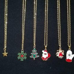 Christmas charm necklace on 18 inch gold plated cable chain with lobster clasp. Variety of gold plated enamel charms available. Ideal gift.