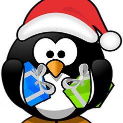 Christmas Penguin DMC cross-stitch pattern. PDF download