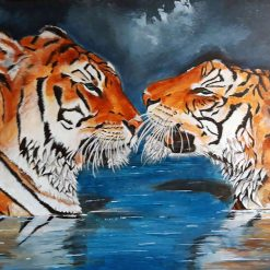 Tiger fun, a unique painting, signed by artist (seller) 100 x 50cm on prepared canvas.
