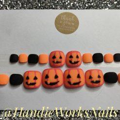 Pumpkin Toe Nail Glue On / Press On Nails Set