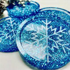 Resin Snowflake Coasters (blue)