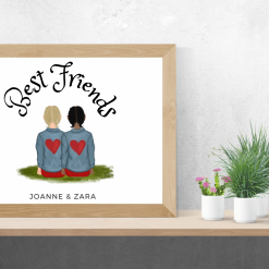 Best friends Demin jacket print, customized, personalized, poster, portrait, friends, family,  wall art, digital print,