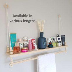 Bathroom Shelf with Towel Rail, Rope Shelf, Swing Shelf, Rope Hanging Shelf, Nordic Shelf, Wall Shelf, Floating Shelf, Bathroom Pine Shelf