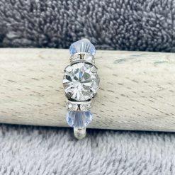 A Swarovski Crystal Ring - Crystal Clear and Light Tanzanite