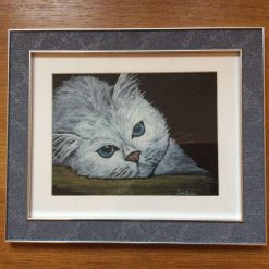 """""""Lazy cat"""", framed watercolour painting"""