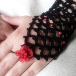 Crochet lace-wedding glove