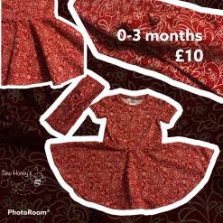 Red Flowers Twirly Dress - free mummy headband