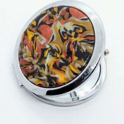 Compact mirror in gold, silver, copper and black marbled design