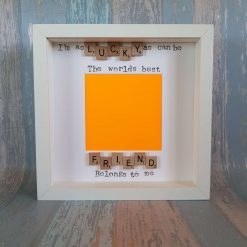 I'm as Lucky as Can Be The Worlds Best Friend Belongs to Me. Scrabble Art Photo / Picture Frame. Bridesmaid / Christmas Gift. Besty,Bestie