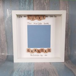 Lucky as Can Be The Worlds Best Grandpa, Grandad, Pops Belongs to Me. Handmade Scrabble Photo/Picture Frame. Christmas / Father's Day Gift.