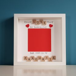 Every Love Story is Beautiful But ours is my Favourite. Scrabble Art Photo/Picture Frame. Christmas, Wedding, Anniversary, Engagement Gift.