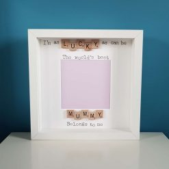 Lucky as Can Be The Worlds Best Mum Belongs to Me. Handmade Scrabble Art Photo Frame. Mummy Picture Frame. Christmas Gift for Mum