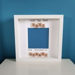 Only the Best Dads Get Promoted - Grandad, Gramps, Grampy, Grandpa. Handmade Personalised Scrabble Photo Frame. Baby Announcement. Birthday, Christmas Gift