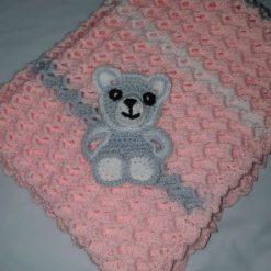 Crocheted Baby Blanket - Bear motif
