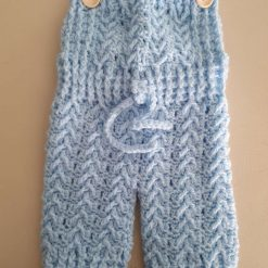 Crocheted Baby Dungarees in blue 3-6 months