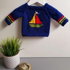 Handmade knitted baby jumper - navy sailboat
