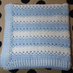 Crocheted Baby Blanket - Blue/White