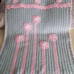 Crocheted Baby Blanket - Pink Flowers