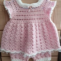 Crocheted baby dress & bloomers/nappy cover 6.9 mths