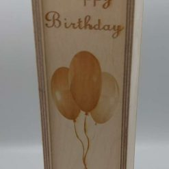 A Personalised Happy Birthday 1 Bottle Wooden Wine Box with a Sliding Lid